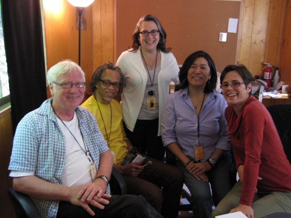 COME HELL OR HIGH WATER senior editor Bill Anderson (L) and filmmaker Leah Mahan (R) with Sundance Documentary Editing and Story Lab Advisors Lewis Erskine, Carol Dysinger and Jean Tsien.
